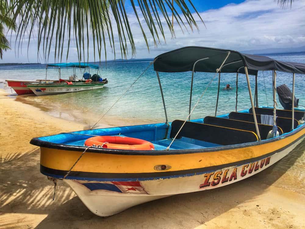 Boat at Starfish Beach on Isla Colon, Bocas del Toro, Panama