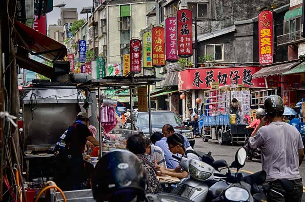 Busy Dalong Street in Taipei, Taiwan