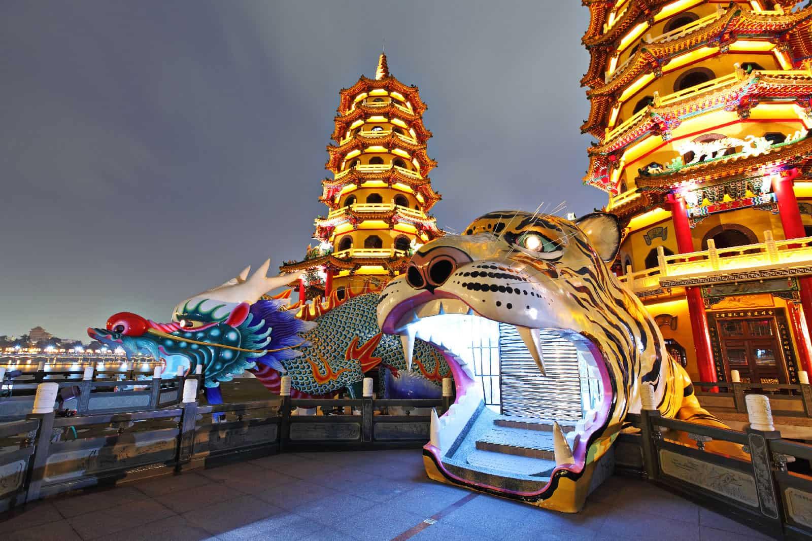 Dragon and Tiger Pagodas at Night in Kaohsiung, Taiwan