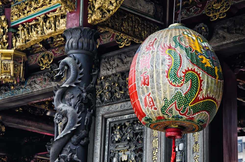 Dragon Lantern at Longshan Temple in Taipei, Taiwan