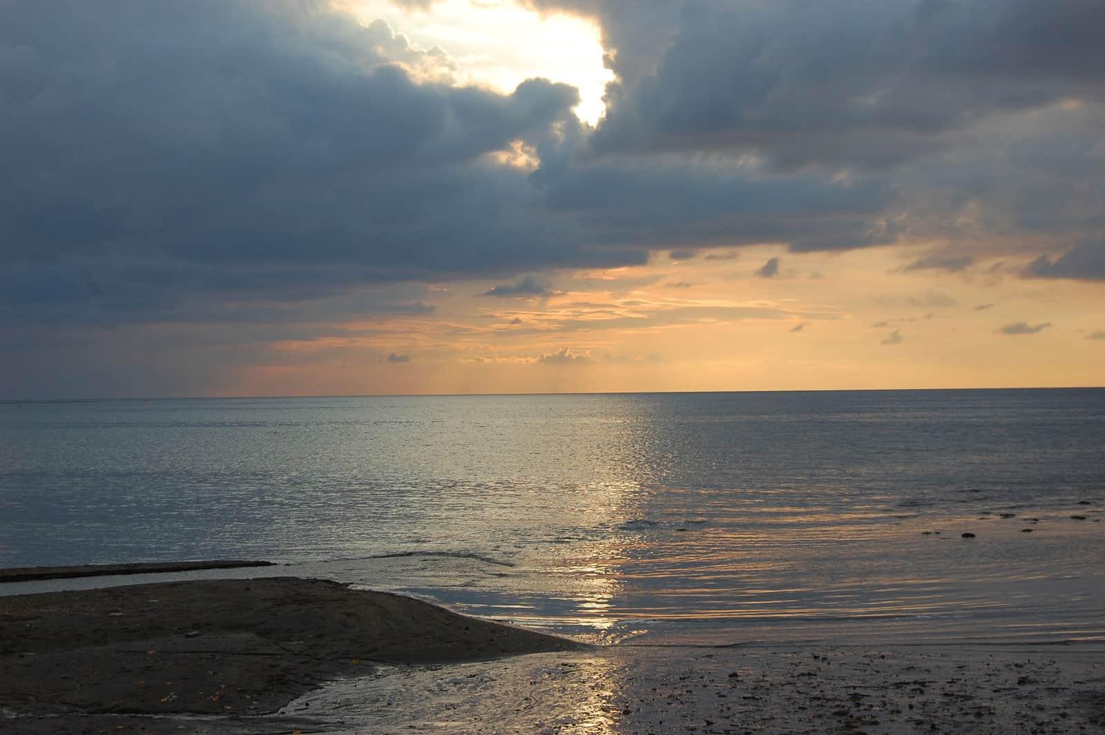 Sunset at Lovina Beach in Bali, Indonesia