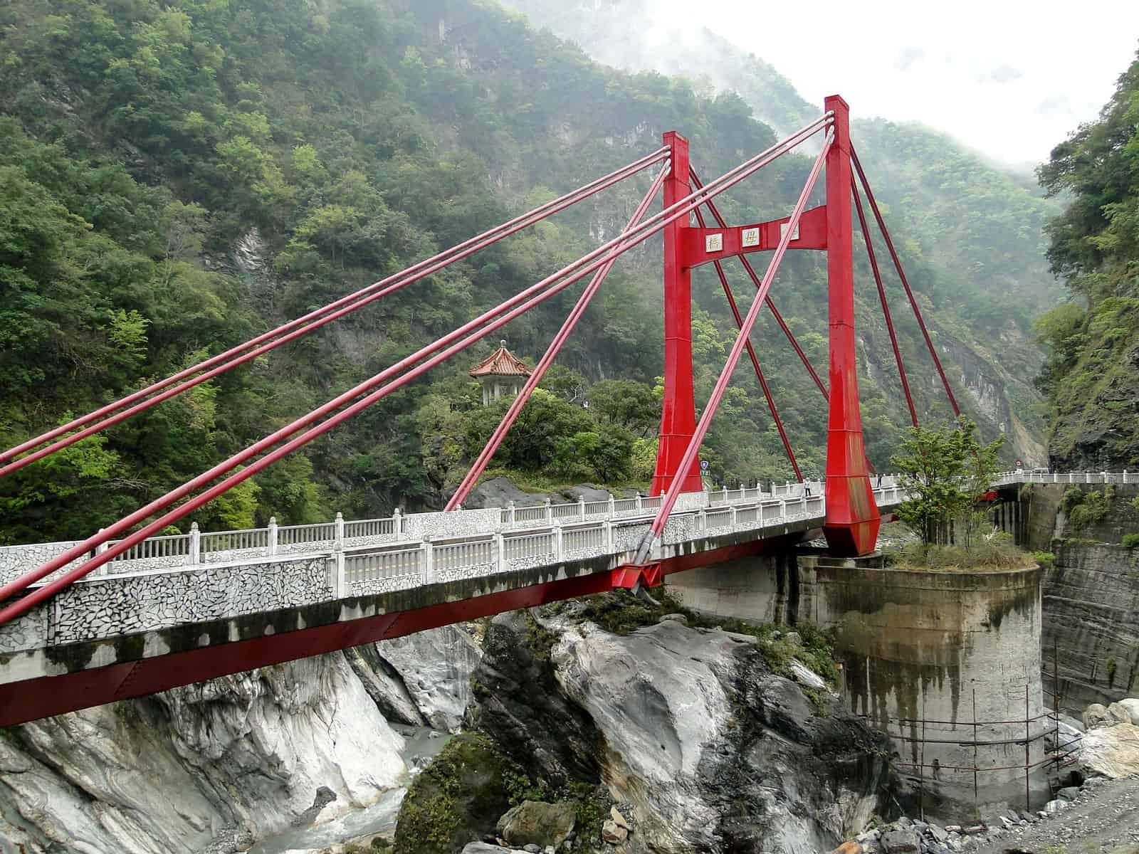 Suspension Bridge at Taroko National Park in Taiwan