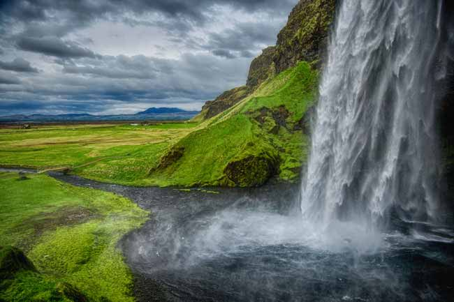 Waterfall in Iceland in spring