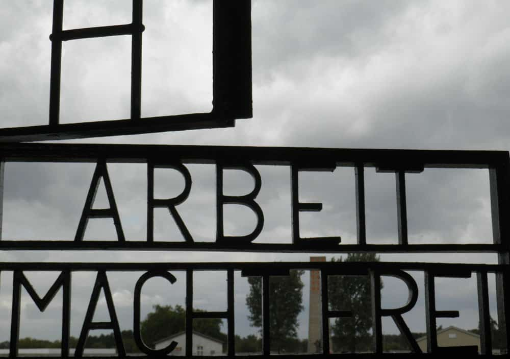 """Arbeit macht frei"" sign at Sachsenhausen-concentration Camp in Germany"