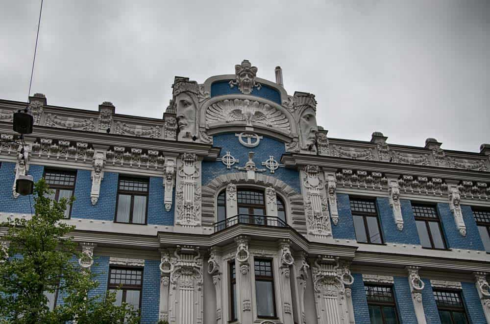 Art Nouveau Building on Alberta Iela in New Town Riga, Latvia