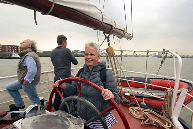 Barbara sailing the Lady Avenel in London, England