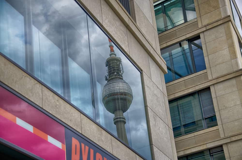 Reflection of Berlin TV Tower (Fernsehturm) in Berlin, Germany