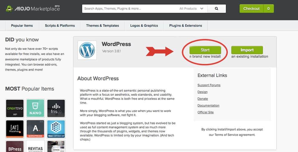 Bluehost - Mojo WordPress Installation