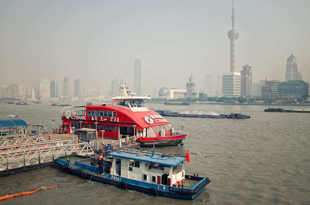Boat on Huangpu River in Shanghai