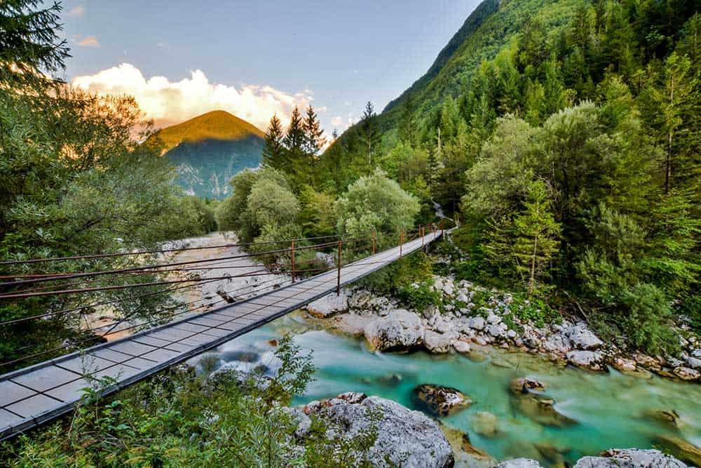 Bridge over Soca River in Triglav National Park