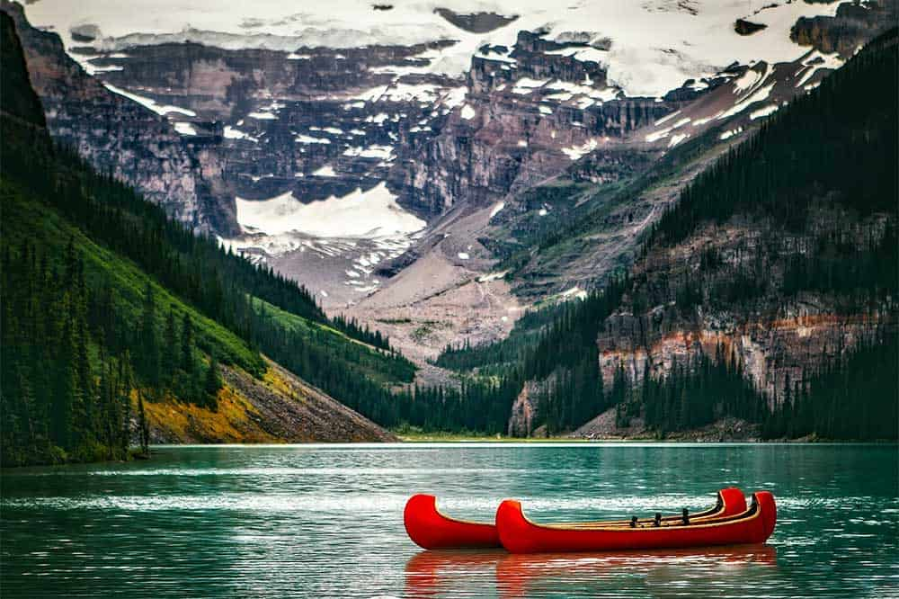 Canoes on Lake Louise, Alberta