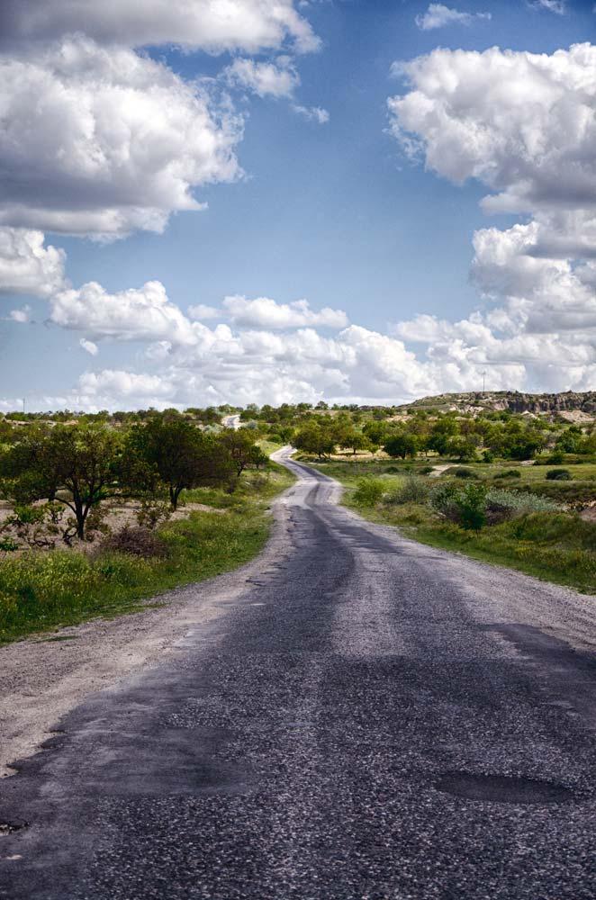 A long, lonesome road in Cappadocia, Turkey