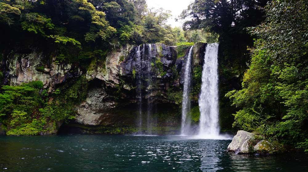 Cheonjeyeon Waterfall in Jeju, Korea