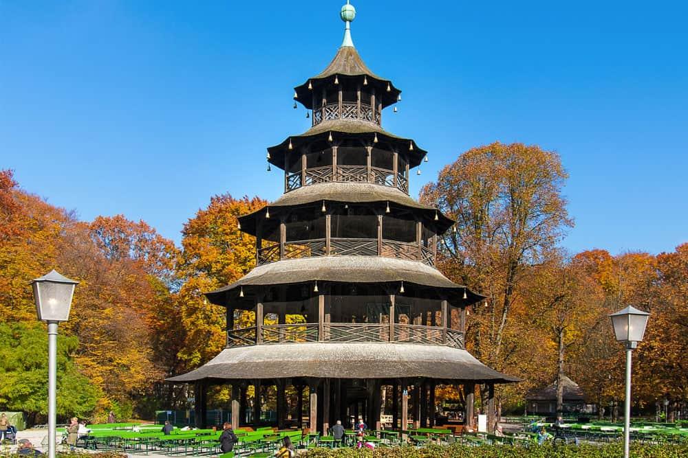Chinesischer Turm in the Englischer Garten in Munich, Germany