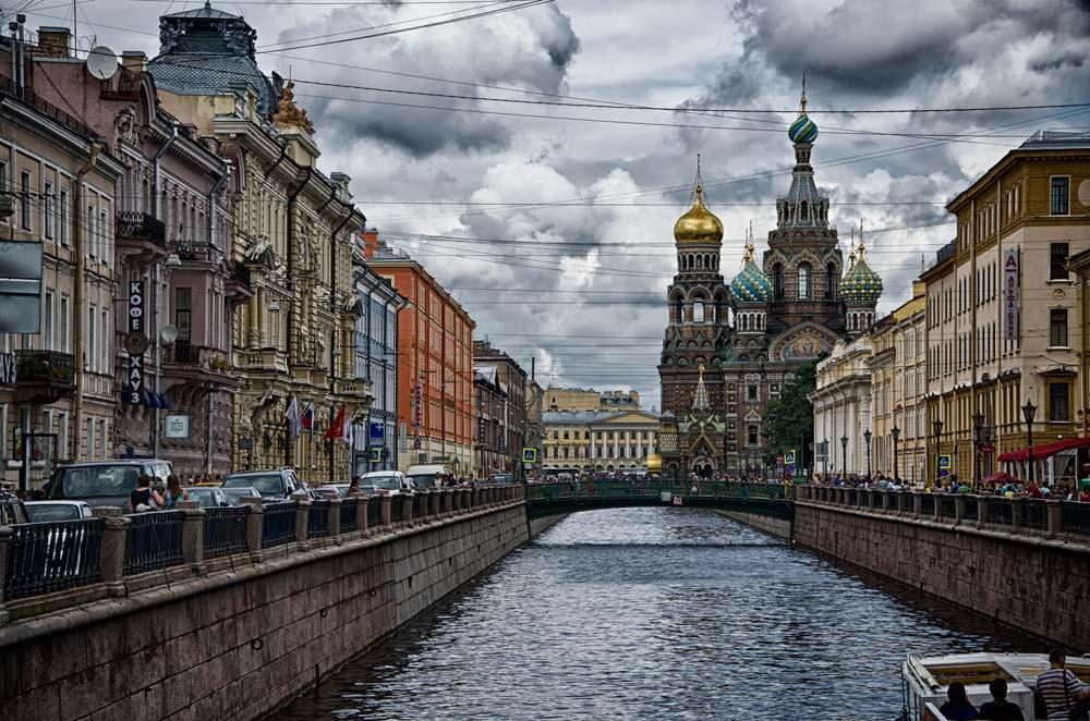 Church on Spilled Blood and Griboyedov Canal in St Petersburg, Russia