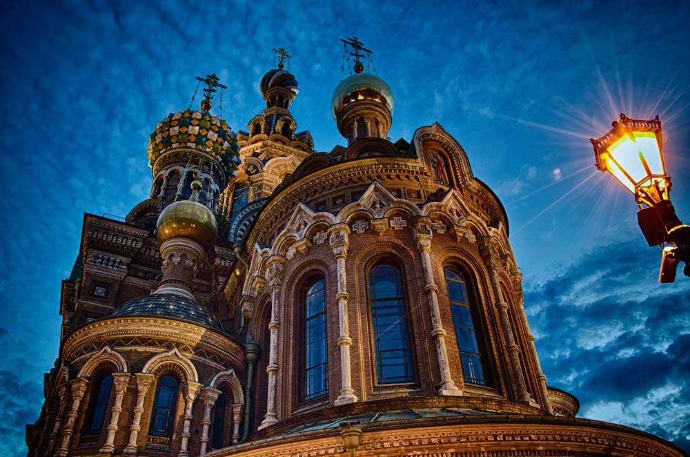 Nightfall at Church on Spilled Blood in St Petersburg, Russia