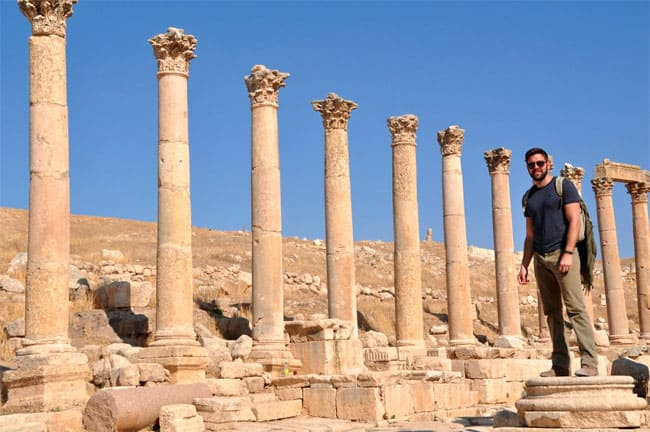 Clint at Roman ruins in Jordan