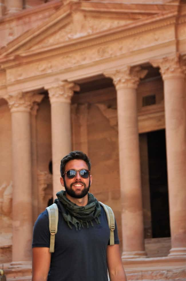 Clint in front of the treasury in Petra, Jordan