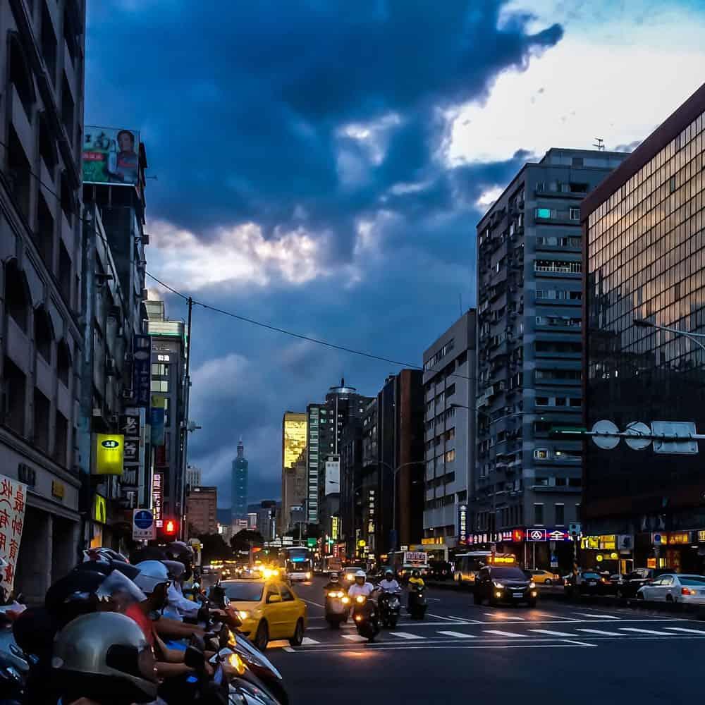 Cloudy Street in Taipei, Taiwan