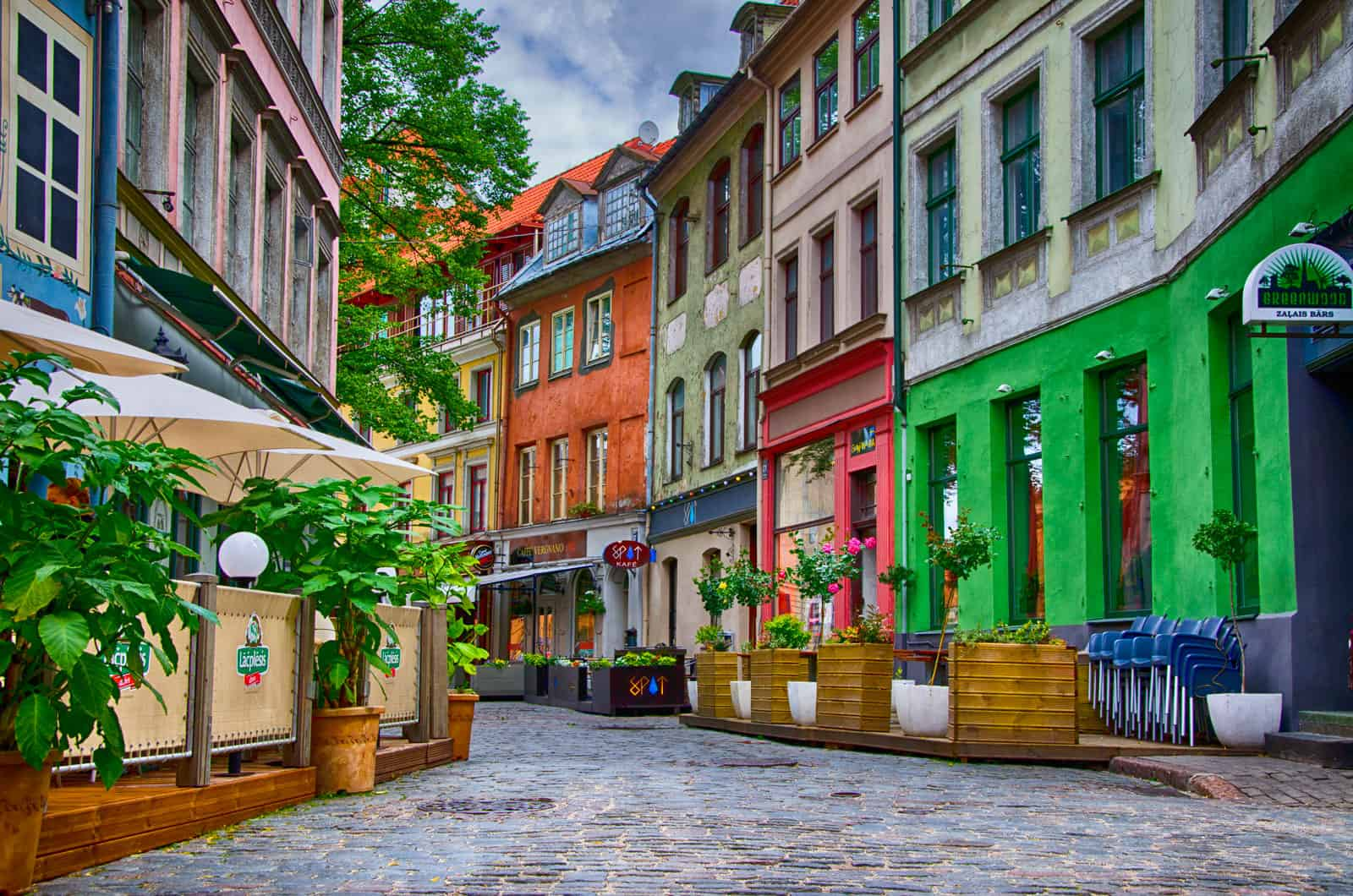 Colourful Street in Old Town, Riga, Latvia