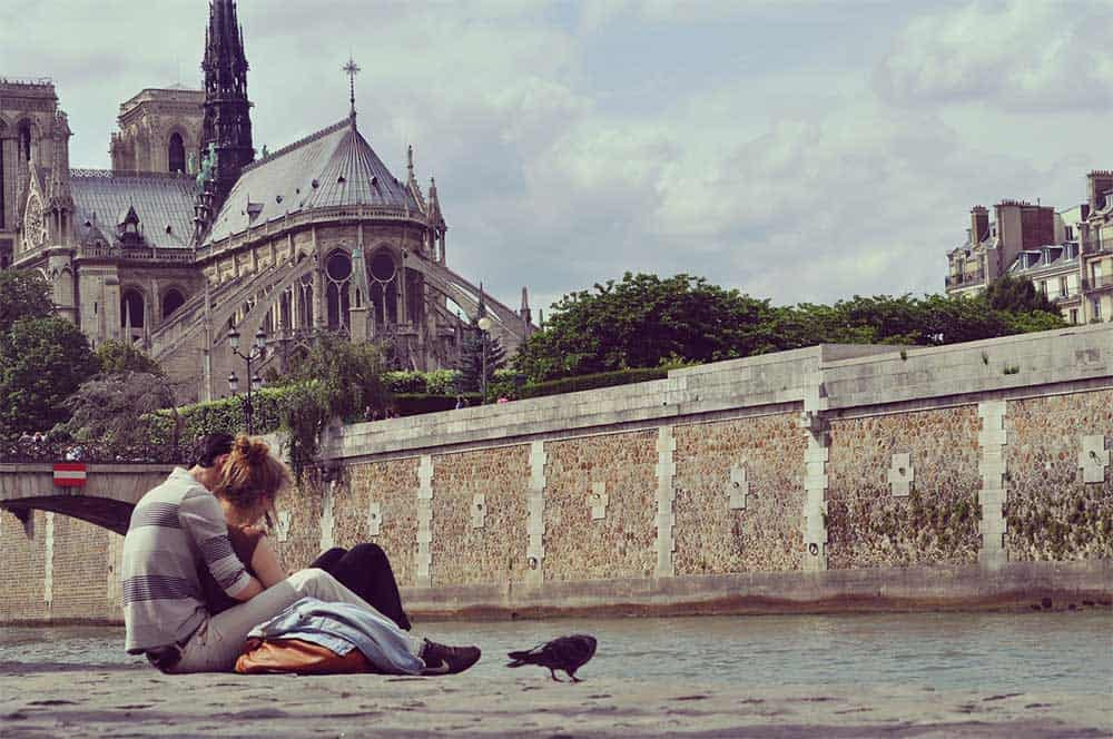 Couple in Paris, France