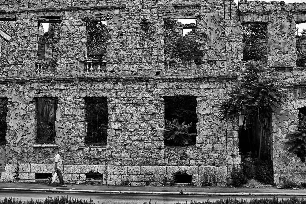 Damaged building in Eastern Mostar, Bosnia & Herzegovina