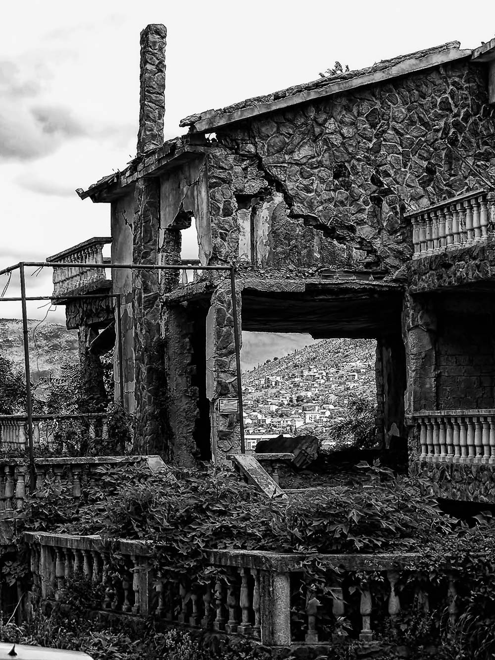 Damaged family home in Eastern Mostar, Bosnia & Herzegovina