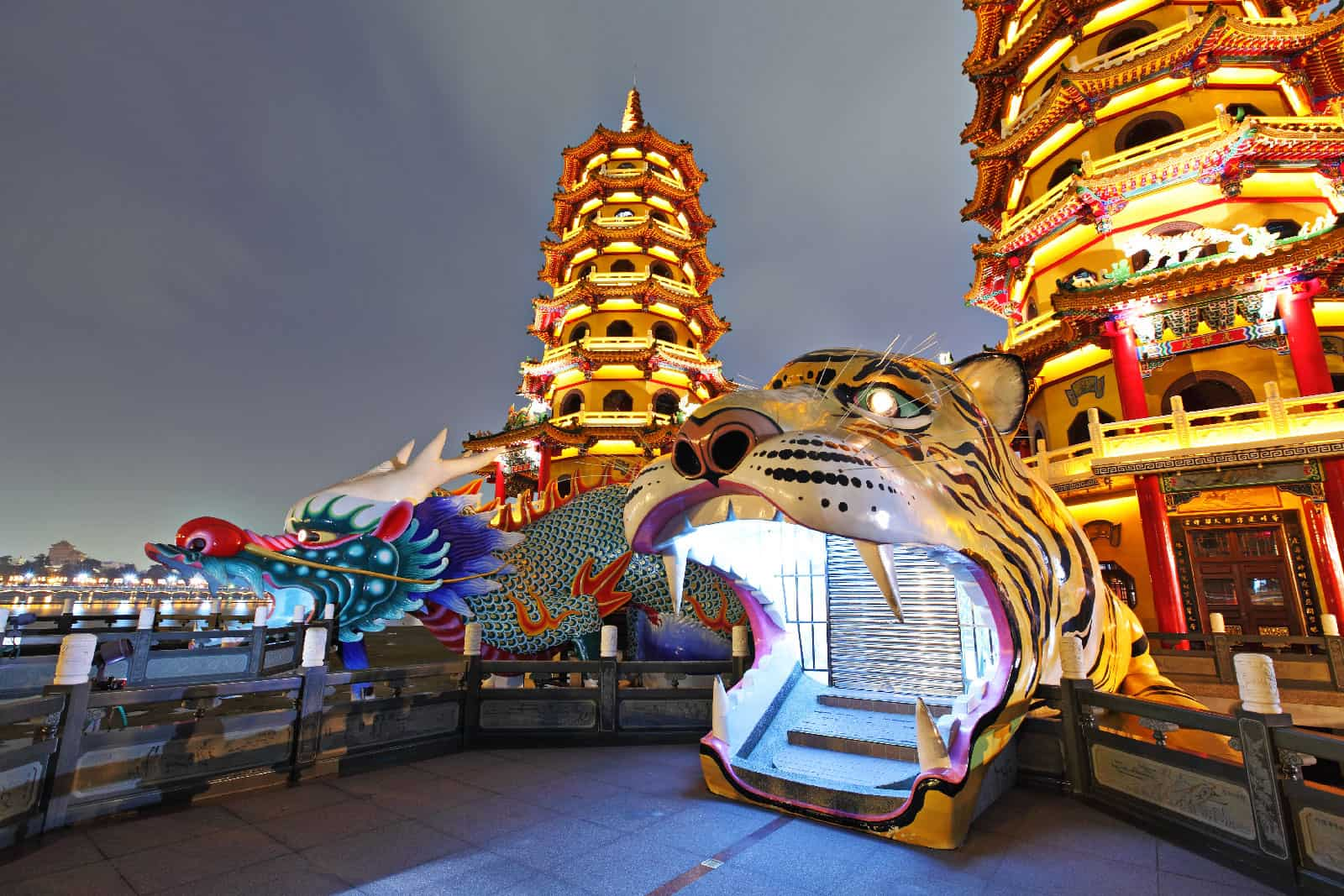 Dragon and Tiger Pagodas at Night in Kaohsiung, Taiwan