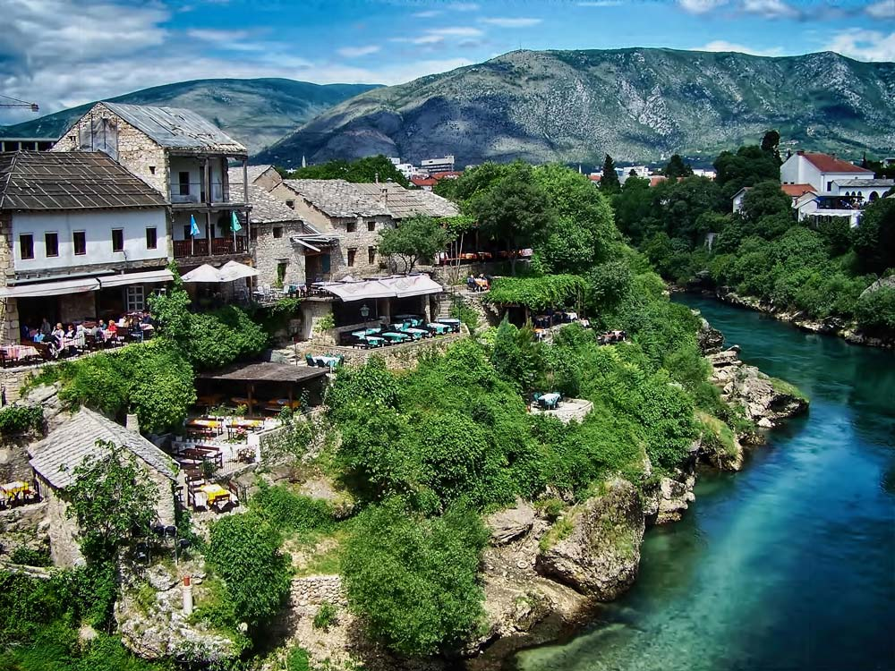 Eastern bank of the Neretva River in Mostar, Bosnia & Herezgovina