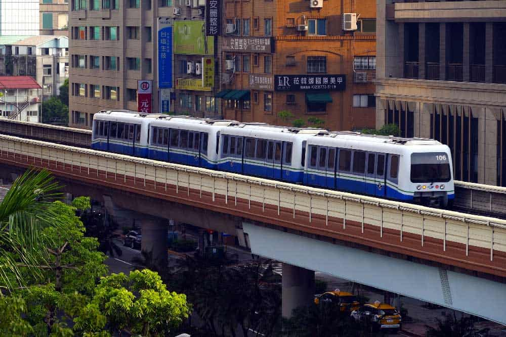 Elevated train on Taipei MRT