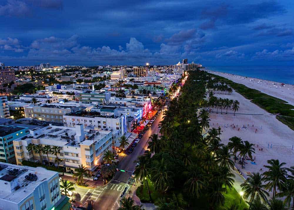 South Beach Aerial in Evening