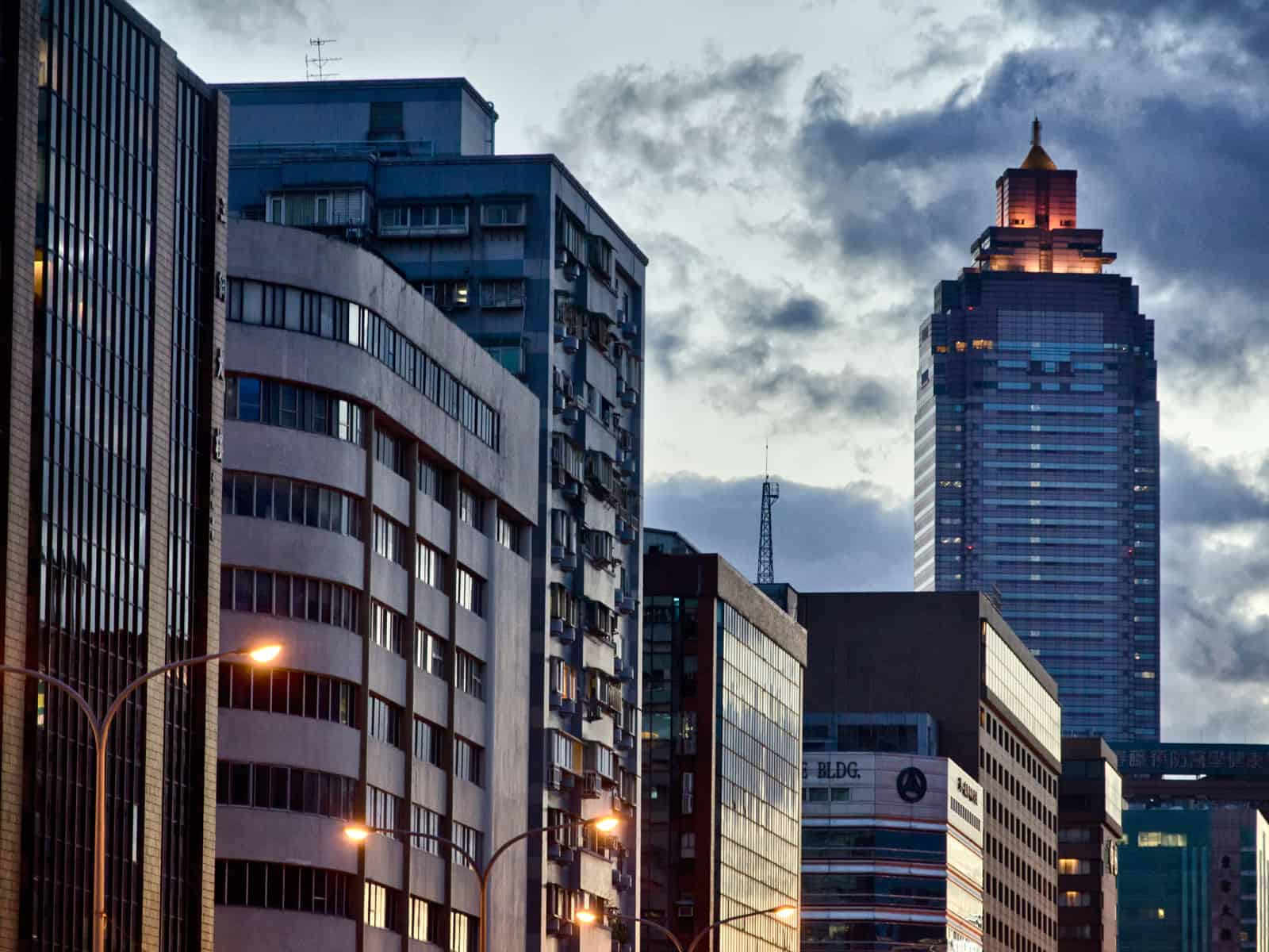 Buildings in Evening, in Taipei, Taiwan