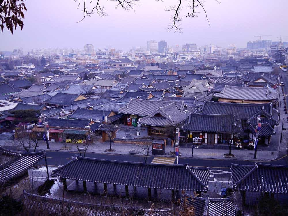 Evening at Jeonju Hanok Village in Jeonju, South Korea