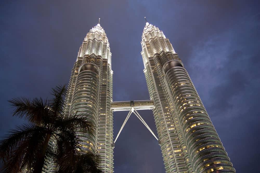 Evening at the Petrona Towers in Kuala Lumpur, Malaysia