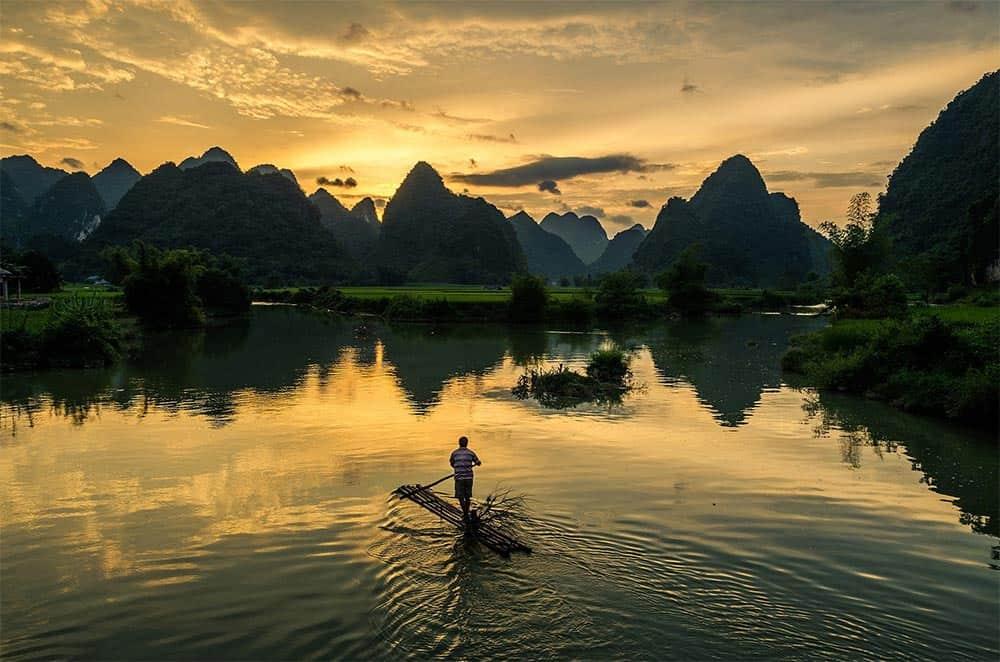 Fisherman in Trung Khanh, Vietnam