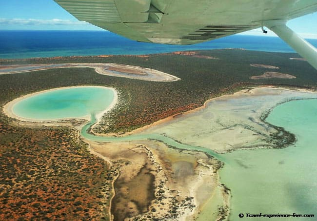 Flying over Francois Peron National Park in Western Australia