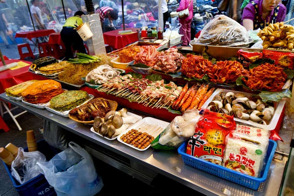 Food at Namdaemun Market in Seoul, South Korea