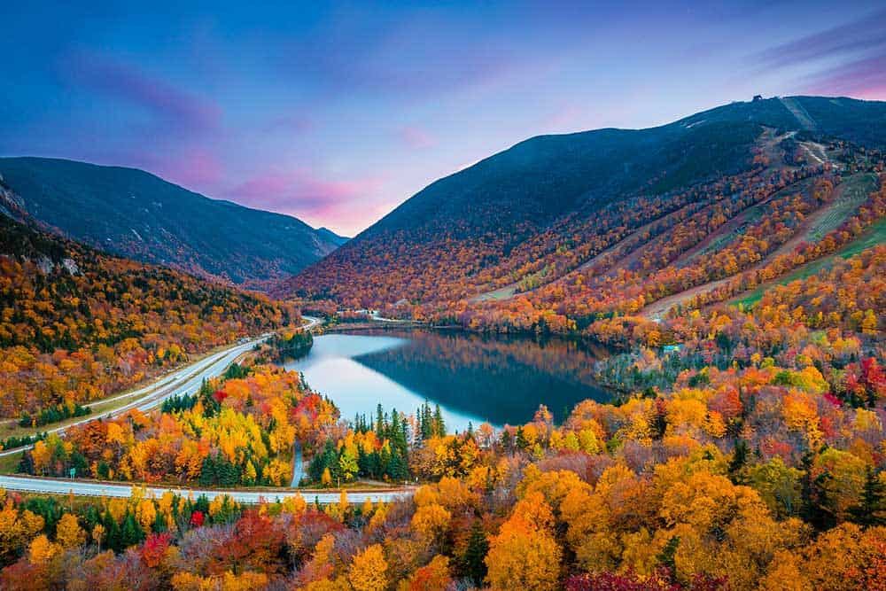 Franconia State Park in White Mountain National Forest, New Hampshire