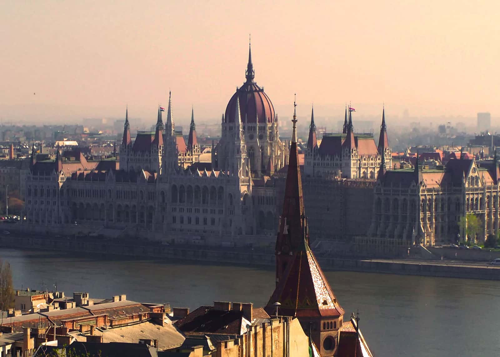Sunsetting over Hungarian Parliament in Budapest, Hungary