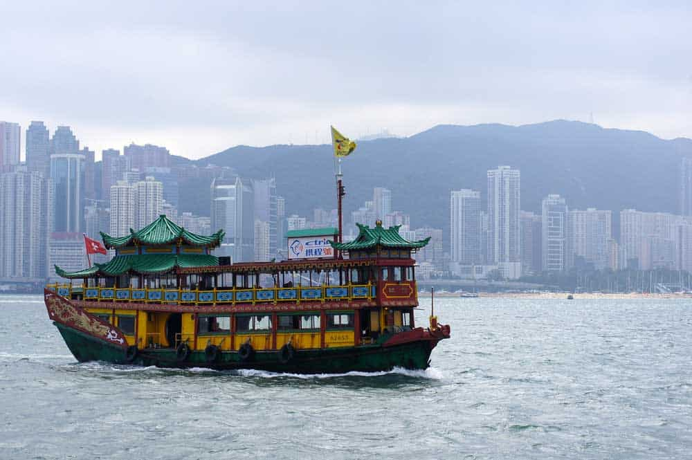 Junker Boat in Victoria Harbour in Hong Kong