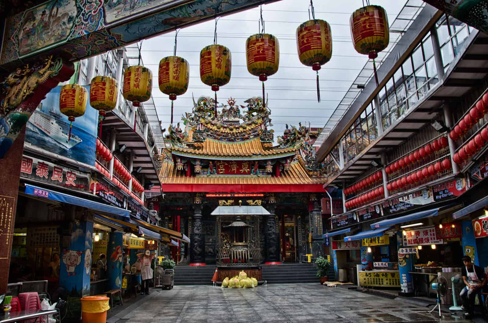 Lanterns and Temple at Miaokou Night Market in Keelung, Taiwan