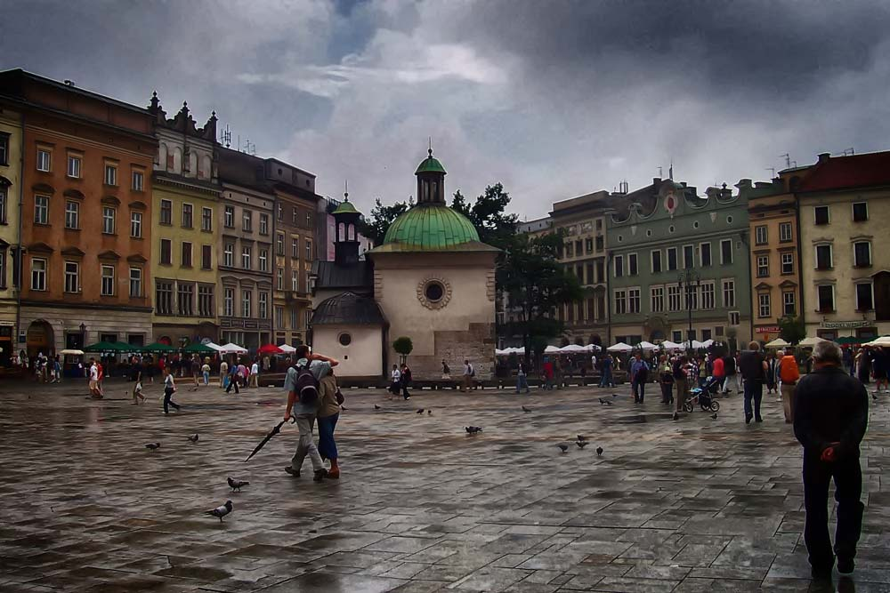 Looking into Old Town Krakow from Market Square