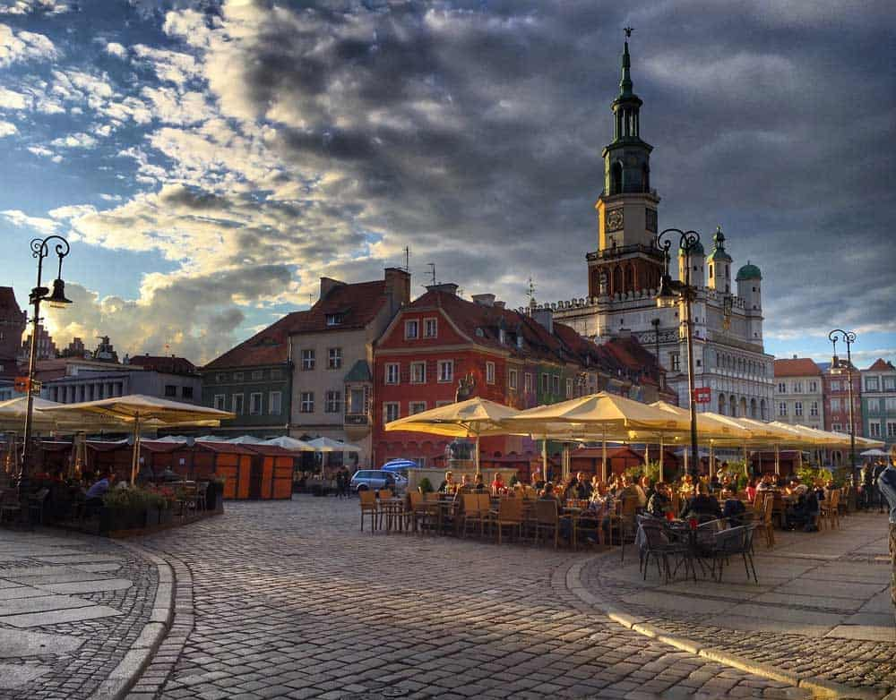 Market and Town Hall in Poznan, Poland