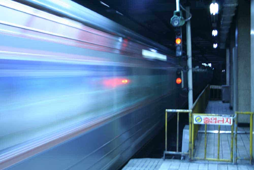 Motion Blur Subway Train in Seoul, Korea