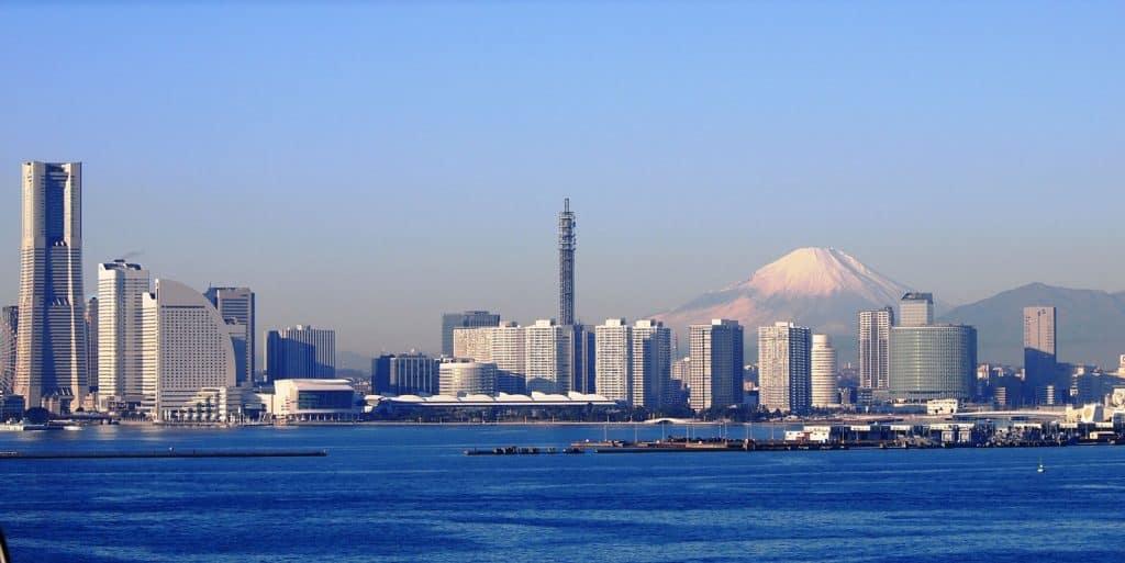 Mount Fuji and Skyline of Yokohama, Japan