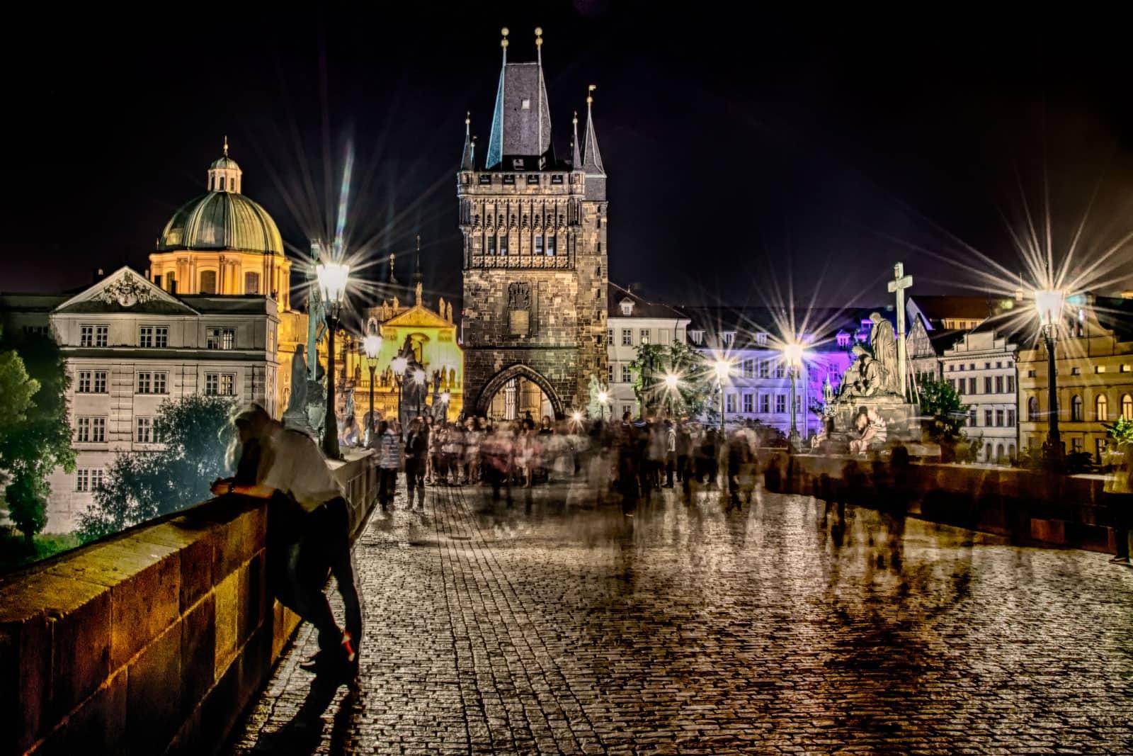 Night on Charles Bridge in Prague, Czech Republic