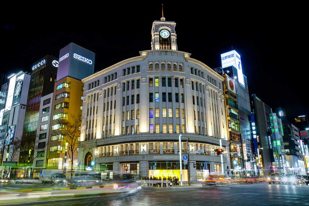 Night in Ginza in Tokyo, Japan