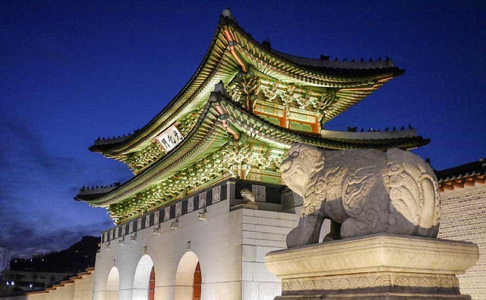 Gwanghwamun at Night in Seoul, Korea