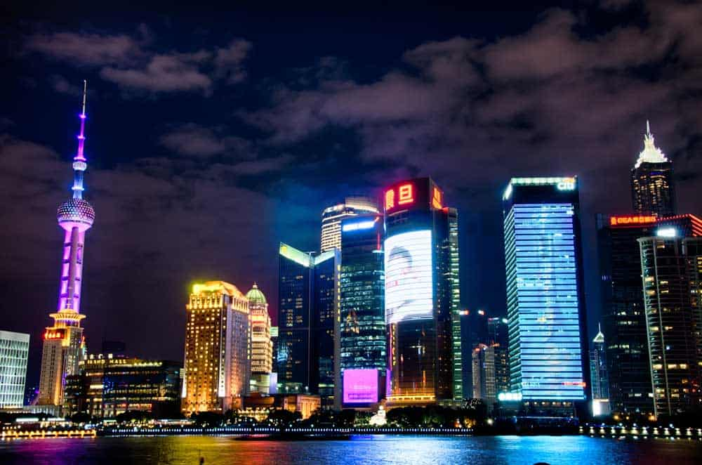Evening View of Pudong Skyline in Shanghai, China