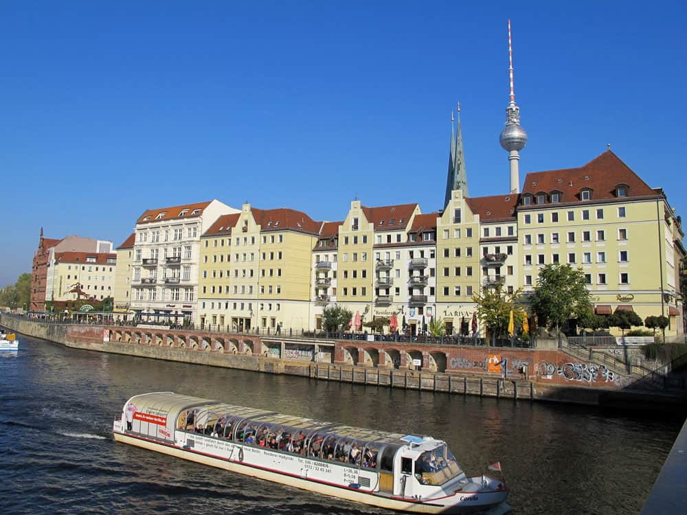 View of Nikolaiviertel from the River Spree in Berlin, Germany
